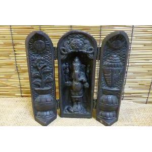 開運置物 観音開きガネーシャ 商売繁盛 学問の神様 インドの神様 神様雑貨 縁起物|lakshmi2011