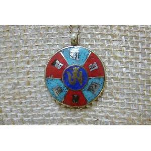 チベットペンダントA おまもり メタルペンダント シルバーネックレス チベット 曼荼羅 個性的 ネックレス60cm|lakshmi2011