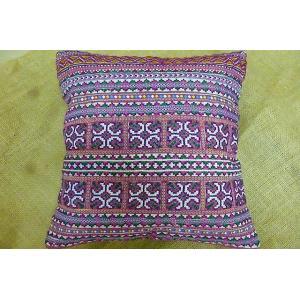 モン族 クションカバーA パープル系 42×42 刺繍クッションカバー クッションカバー紫 クッションカバーエスニック おしゃれカバー lakshmi2011