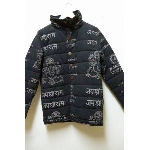 30%OFF ジャケット ガネーシャ中綿入りジャケット 黒 ダウンジャケット あたたかアウター エスニックアウター  男女兼用 lakshmi2011