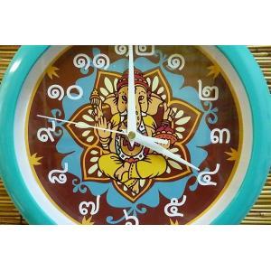 掛け時計 ガネーシャ グリーン インドの神様 エスニック時計 商売繁盛 学問の神様 神様雑貨 lakshmi2011