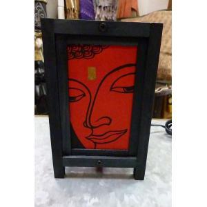 ランプ ブッダ 赤 卓上ランプ エスニックランプ テーブルランプ インテリアライト 間接照明 ウッドランプ lakshmi2011