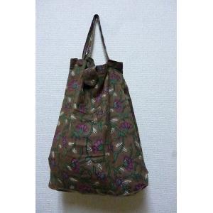 エコバッグ フラワーブラウン 折りたたみバッグ 携帯バッグ レジバッグ ハンドバッグ ミニバッグ 布バッグ レディースバッグ lakshmi2011
