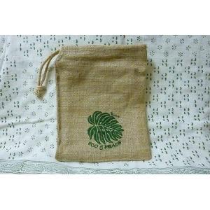 ジュート巾着 モンステラ ミニバッグ 麻バッグ 小物入れ 天然素材 エコ lakshmi2011