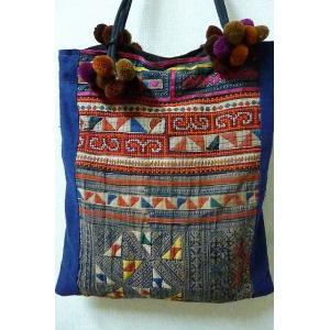 モン族 ぽんぽんバッグ 刺繍バッグ トートバッグ 個性的バッグ 民族 長さ調節可能 レディースショルダーバッグ lakshmi2011