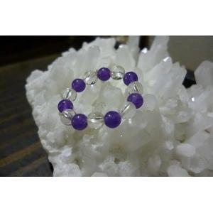 天然石 パワーストーン リング アメジスト 水晶 2月誕生石 紫の石 フリーリング レディースリング 指輪|lakshmi2011