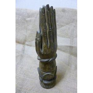 お香立て合掌 木彫り 個性的お香たて ウッド香立て エスニックオブジェ アジアン雑貨|lakshmi2011