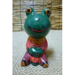 木彫り置物 親子カエル アニマル雑貨 エスニック雑貨 木 ウッド飾り 蛙置物|lakshmi2011