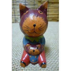 木彫り置物 親子ネコ アニマル雑貨 エスニック雑貨 木 ウッド飾り ねこ置物|lakshmi2011