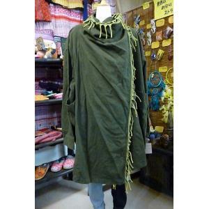 フリンジコート カーキ 旅人風コート 前合わせ羽織 エスニックコート ユニセックスアウター レディースコート lakshmi2011