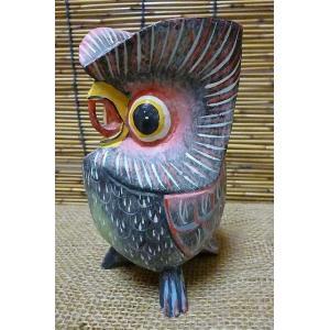 ふくろう置物 木彫り フクロウ飾り 縁起物置物 ブラック フクロウ雑貨 梟グッズ|lakshmi2011