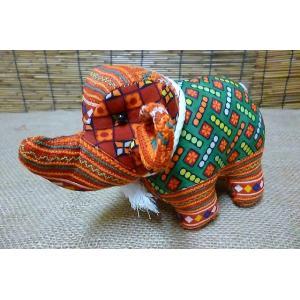 モン族 ゾウさんぬいぐるみ オレンジ カラフルゾウさん ぞうかざり ぞうさん置物 タイゾウぬいぐるみ プレゼント 贈り物|lakshmi2011