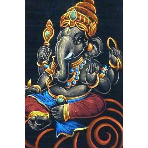 ガネーシャ壁掛け 茶色 掛軸 ガネーシャ絵画 インドの神様 商売繁盛 学問の神様 ゾウさんかざり アジアン雑貨 レターパック対応|lakshmi2011