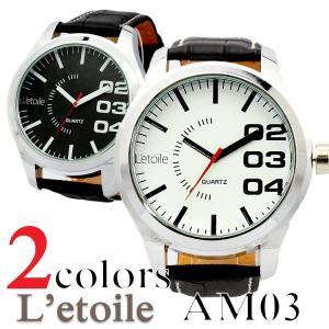 送料無料 男性用 腕時計 L'etoile ビッグフェイス メンズ腕時計
