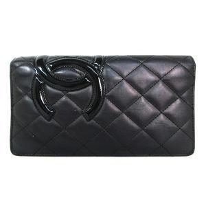 bb3d86093282 シャネル CHANEL カンボンライン 二つ折り 長財布 ブラック ブラック 内側ピンク レザー A26717 中古