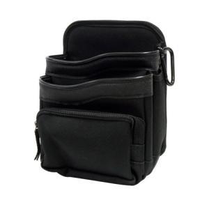 「在庫限り」 WORKMASTER ワークマスター 腰袋二段 チャック式収納袋 ブラック WL-12B lamd