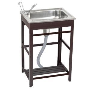 [特長] 庭先などで土付き野菜やシューズ・掃除用具などの洗い物に最適な流し台です。 便利な下棚板付き...