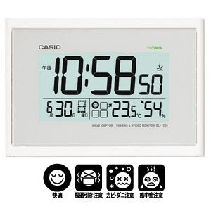 「送料無料」   CASIO カシオ 生活環境お知らせ機能付 電波掛時計 IDL-100J-7JF ホワイト 掛け時計|lamd