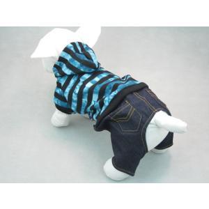 フード付きストライプパンツ【メール便可】 <犬服 ワンコ>|lamerr