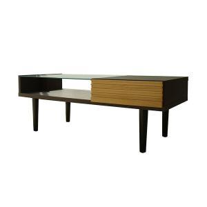 ルーバー調&ガラストップ センターテーブル FE ローテーブル リビングテーブル インテリア おしゃれ ディスプレイ モダン 北欧 一人暮らし クー|lamp