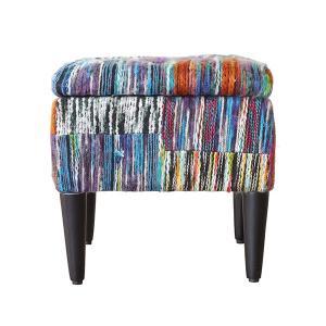 毛糸生地が個性的 ヴォレ ボックススツール S wolle box stool  スツール ソファ イス 椅子 収納付き トランクベンチ チェア ミックス カラフル|lamp