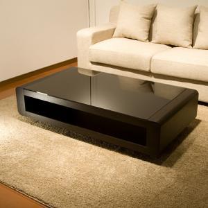 ブラックガラストップリビングテーブル/Loob テーブル リビングテーブル スクエアタイプ デザインテーブル ローテーブル センターテーブル 高級 デ|lamp