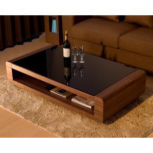 ブラックガラストップリビングテーブル/Loob(ウォールナット) テーブル リビングテーブル スクエアタイプ デザインテーブル ローテーブル セ|lamp
