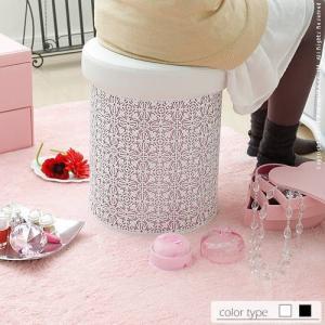 収納付き丸型パンチングスツール Arabesque〔アラベスク〕 スツール 収納 ボックス 椅子|lamp