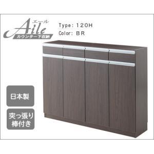 【送料無料】 カウンター下収納 エール120H (DBR)|lamp