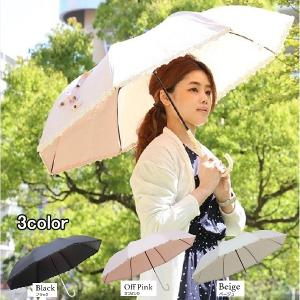 100% UVカット ショートワイド 折りたたみ日傘 晴雨兼用 48cm 袖薔薇レース|lamp