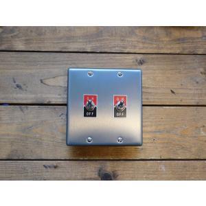 トグルスイッチプレート フラット&文字プレート 2個用 インダストリアル|lamps1122