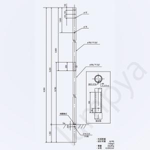 引込柱 セパレートポール CN型 61408 メッキ(Z)日本ネットワークサポート|lampya