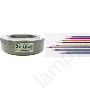 VVFケーブル(平型)1.6mm×2芯 100m 色、グレー(灰色)【VVF1.6×2C】 lampya