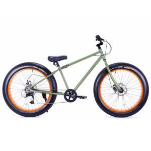 ファットバイク 26インチ 極太タイヤ 変速付 おしゃれ 自転車 通勤 通学 ブロンクスファットバイク 26BRONX-DD アーミーグリーン×オレンジリム|lanai-makai
