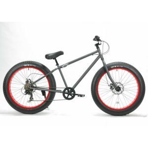 ファットバイク 26インチ 極太タイヤ 変速付 おしゃれ 自転車 通勤 通学 ブロンクスファットバイク 26BRONX-DD マットグレー×レッドリム|lanai-makai