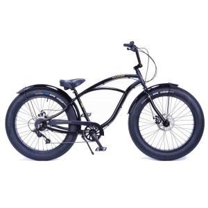 ビーチクルーザー 26インチ ファットバイク 変速付き アルミフレーム 自転車 通勤 通学 レインボービーチクルーザー GREASE-3.5 スペードブラック|lanai-makai