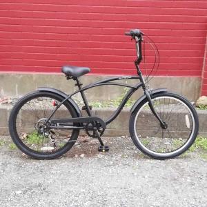 レインボー ビーチクルーザー 24インチ おしゃれ 自転車 通勤 通学 6段変速付 メンズ レディース ジュニア 24KB-6SPEED マットブラック|lanai-makai