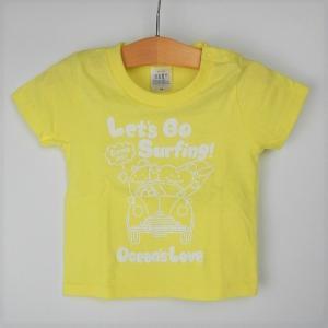 オーシャンズラブ OCEAN'S LOVE キッズ Let's Go Surfing Tシャツ ライトイエロー NPO法人 ボランティア サーフィン おしゃれ|lanai-makai