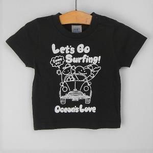 オーシャンズラブ OCEAN'S LOVE キッズ Let's Go Surfing Tシャツ ブラック NPO法人 ボランティア サーフィン おしゃれ|lanai-makai