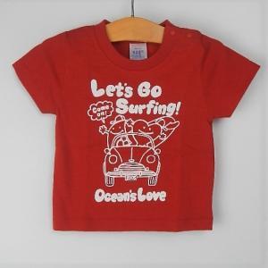 オーシャンズラブ OCEAN'S LOVE キッズ Let's Go Surfing Tシャツ レッド NPO法人 ボランティア サーフィン おしゃれ|lanai-makai