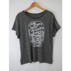 オーシャンズラブ OCEAN'S LOVE レディース Make Happy ワイドTシャツ グレー NPO法人 ボランティア サーフィン おしゃれ|lanai-makai