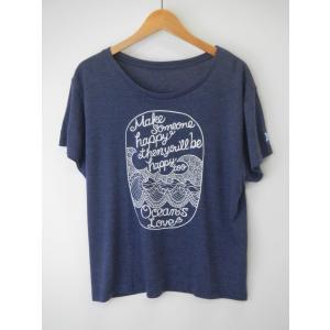 オーシャンズラブ OCEAN'S LOVE レディース Make Happy ワイドTシャツ ネイビー NPO法人 ボランティア サーフィン おしゃれ|lanai-makai