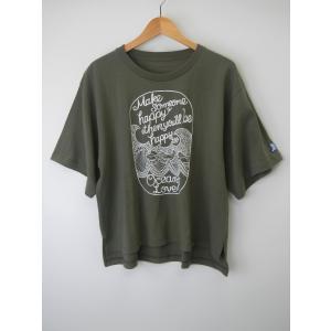 オーシャンズラブ OCEAN'S LOVE レディース Make Happy ワイドTシャツ  グリーン NPO法人 ボランティア サーフィン おしゃれ|lanai-makai
