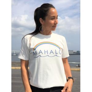 オーシャンズラブ OCEAN'S LOVE レディース マハロハワイ Tシャツ プレミアム NPO法人 ボランティア サーフィン おしゃれ|lanai-makai