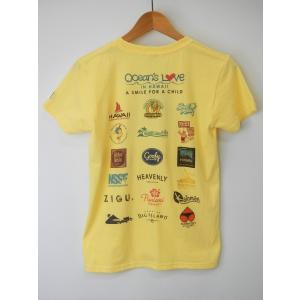 オーシャンズラブ OCEAN'S LOVE レディース マハロハワイ Tシャツ ライトイエロー NPO法人 ボランティア サーフィン おしゃれ|lanai-makai