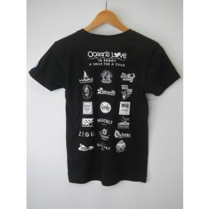 オーシャンズラブ OCEAN'S LOVE レディース マハロハワイ Tシャツ ブラック NPO法人 ボランティア サーフィン おしゃれ|lanai-makai