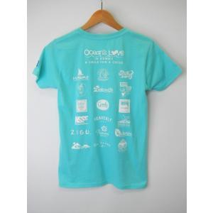 オーシャンズラブ OCEAN'S LOVE レディース マハロハワイ Tシャツ アクア NPO法人 ボランティア サーフィン おしゃれ|lanai-makai