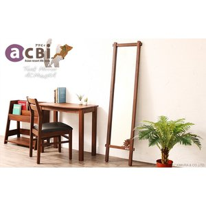 アジアン家具 スタンドミラー 全身 姿見 おしゃれ 鏡 ウォールミラー 壁掛け チーク 無垢 木製 アクビィ ナチュラル ACM160KA|landmark|02