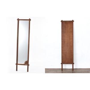 アジアン家具 スタンドミラー 全身 姿見 おしゃれ 鏡 ウォールミラー 壁掛け チーク 無垢 木製 アクビィ ナチュラル ACM160KA|landmark|06
