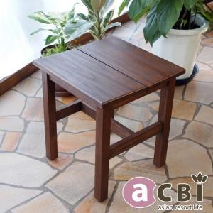 アジアン家具 アクビィ チーク 無垢 木製 スツール いす ACS110KA